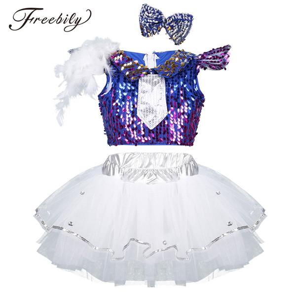 Kızlar Parlak Pullu Balo Salonu Caz Hip Hop Dans Yarışması Kostüm Çocuklar için Set Kırpma Üst tutu Elbise Dans Elbise Kıyafetler Giymek