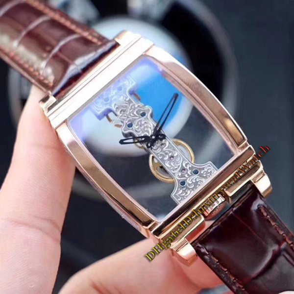 Brand New Diasteria Golden Bridge 113.550.70 Transparent Skeleton Dial Automatic Mechanical Mens Watch Rose Gold Case Leather Strap Watches