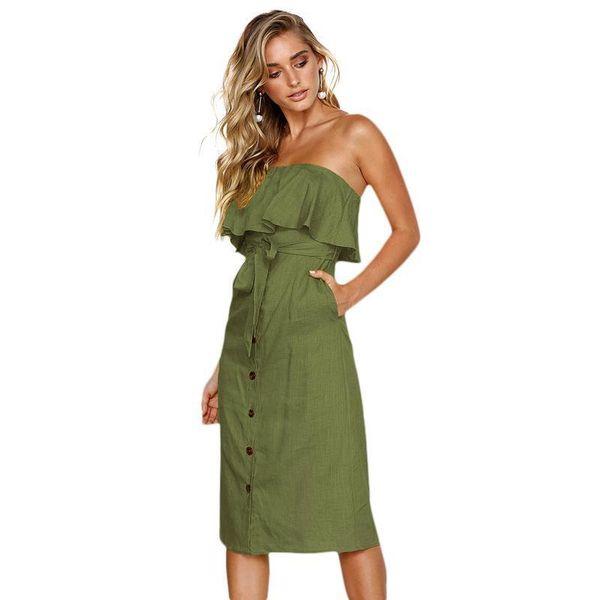 Women Off the Shoulder Sexy Dress Sleeveless Backless Elegant Ladies Dresses Ruffles Buttons Front High Waist Pencil Dress 2019