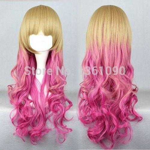 bjc00004 Rhapsody Gothic Lolita Wigs GOLD fadeTO PINK Harajuku long curly cosplay wig Girls Cosplay Peluca perruque Ladys WIGS