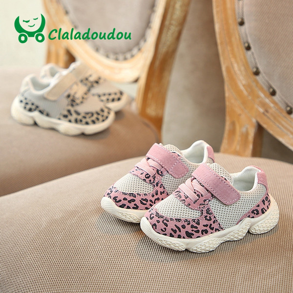 Foot 11-15CM 2019 Spring Baby Sneakers Leopard Genuine Leather+Mesh Breathable Todder Girls Boys Casual Shoes Kids First Walker