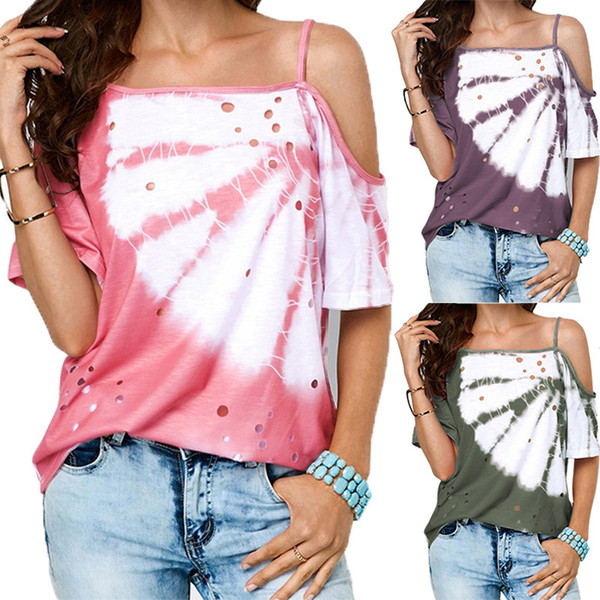 Summer Explosion Tshirts for Women 2019 Hot Sale Oblique Neck Sling Casual Tops Tees Womens Casual Print Hollow Out T Shirts Women Clothing