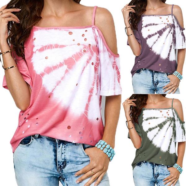 Explosion D'été T-shirts Pour Femmes 2019 Vente Chaude Oblique Cou Sling Casual Tops Tees Femmes Casual Imprimer Évider T-shirts Femmes Vêtements