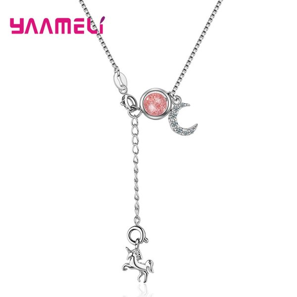 creative long ketting 925 sterling silver strawberry crystal&moonstone unicorn necklace fashion jewelry for women 2020 statement