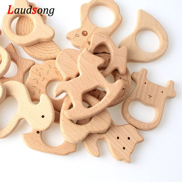 5Pcs Mixed Styles Animal Beech Wooden Beads Teething Wood teethers Toy Baby Gift Rattle Beads 5Pcs Mixed Styles Baby Animal