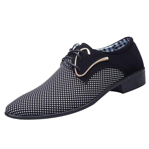 Uomo Uomo Studio Parrucchiere Matrimonio Tacchi bassi Hombre Stringate Zapatos Abito da lavoro Scarpe formali da lavoro Stile britannico 2019