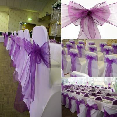 Barato púrpura Organza silla de la boda cubierta del banquete banquete de boda sillas banquetas arco con cinta de organza para la ceremonia de boda decoraciones