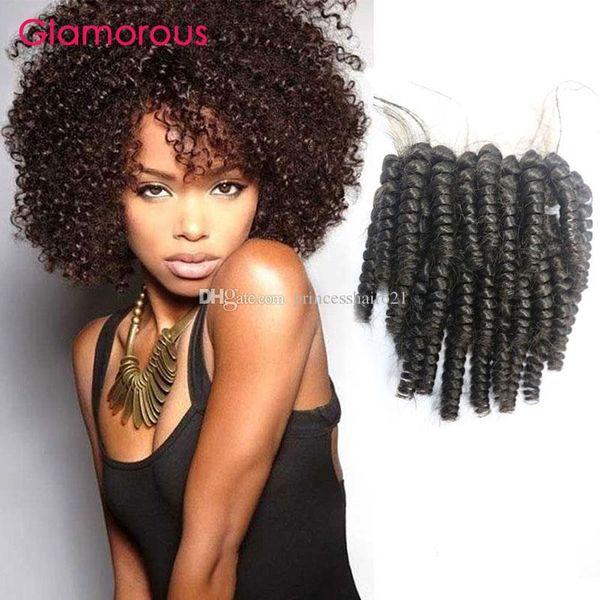 Glamouröses mongolisches verworrenes lockiges Haar-Verschluss natürliches schwarzes 4x4 Spitze-Verschluss beste Übereinstimmung mit Bündeln kambodschanischen indischen Jungfrau-Menschenhaarstück