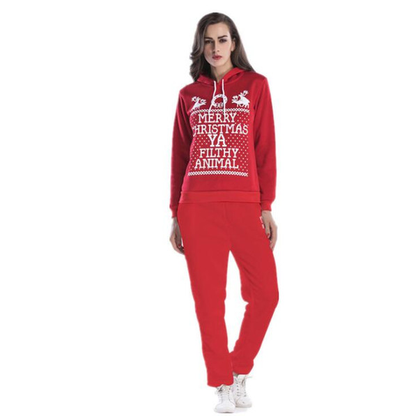 women letters pullover hooded longsleeve casual tracksuits for sports with long pants slim sweat suit 2pc set
