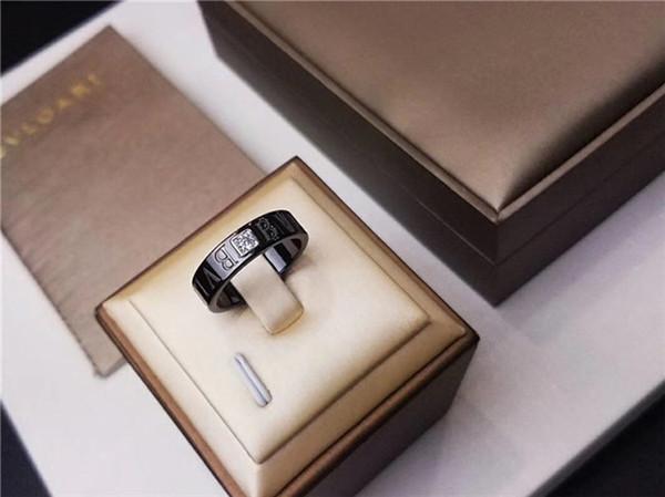 B designer anel de jóias de amor preto anéis de cerâmica 925 suporte de prata embutimento oito setas simulação broca círculo partido bonito perfeito