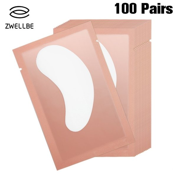 100pairs/pack Pink New Paper Patches Eyelash Under Eye Pads Lash Eyelash Extension Paper Patches Eye Tips Sticker Wraps Make Up