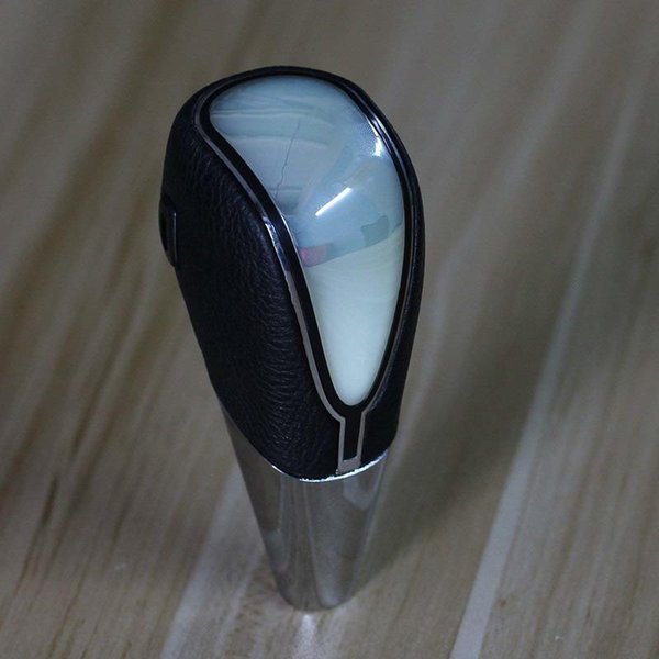 Black Leather Touch Motion Activated LED Light Auto Car Shift Knob Shifter Gear-Multicolor - White