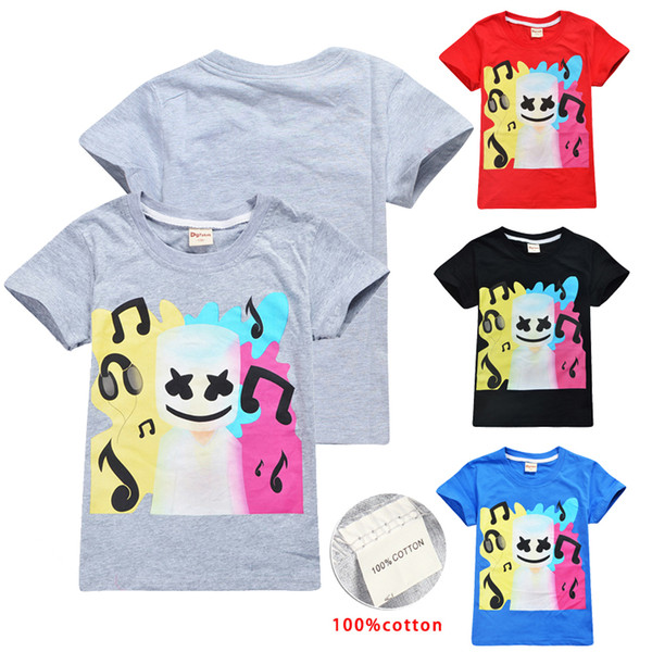 4 Farben DJ Marshmello gedruckt Kinder T-shirts 6-14 t Kinder Jungen Mädchen 100% Baumwolle T-Shirts T-Shirts Kinder Designer Kleidung DHL SS95