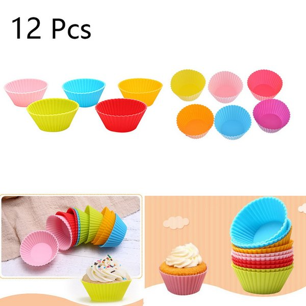 oomall 12pcs Jelly Mould Cupcake Maker Muffin Cupcake Mould Party Tools Random Color Silicone Round Reusable Baking Cake Molds Hoomall 12...