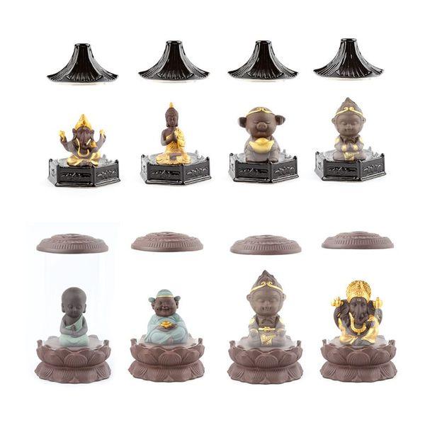 Backflow Ceramic Incense Burner Reflux Glass Cover Handicraft Buddhist Buddha Tower Cone Counterflow Decor Ornaments Home