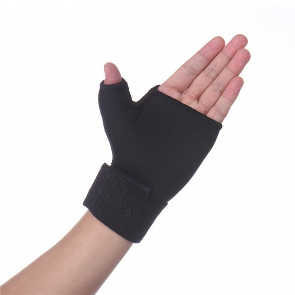 2 x Elastic Black Thumb Wrap Wrist Palm Supports Sport Gloves bandage Brace gym hand wrap band for fitness Weightlifting Tennis