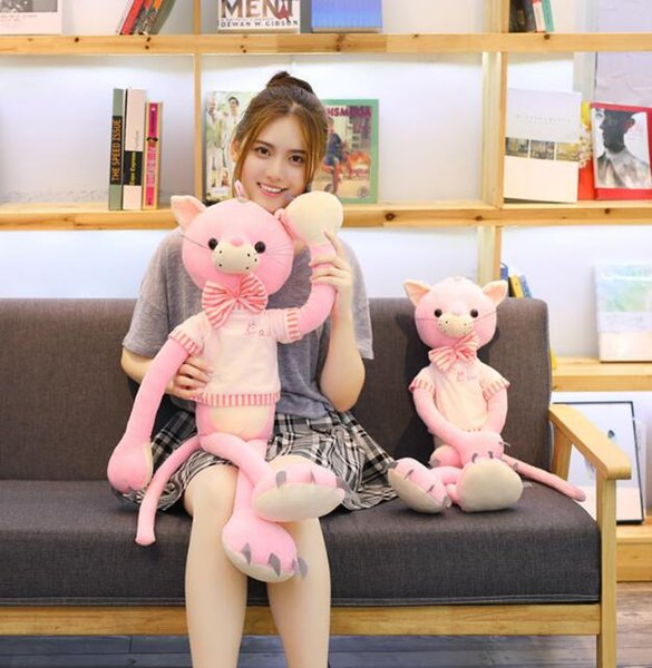 29#factory direct selling fashion hot pink cat doll plush toy wearing long legs cat child girl birthday gift 100cm