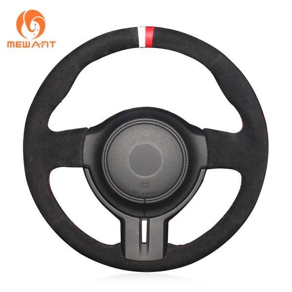 1 DIY Custom Mewant Black Suede White Red Marker Car Steering Wheel Cover para Toyota 86 Subaru BRZ