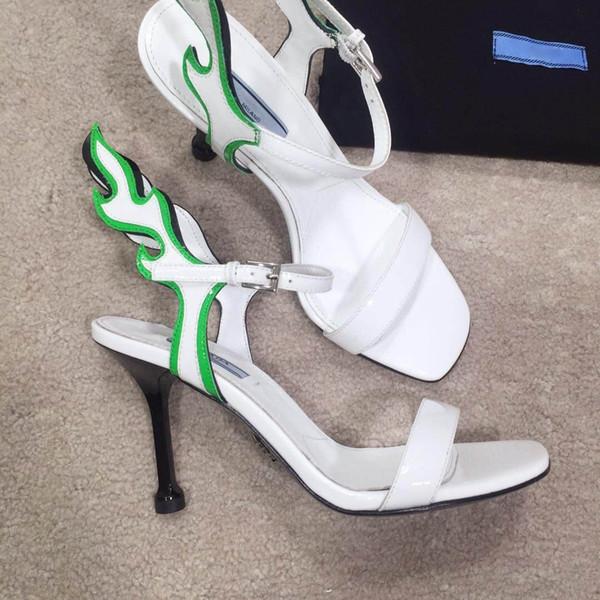 En Kaliteli 9 CM Yüksek topuk sandalet dana deri ayakkabı kadınlar için moda terlik gerçek deri alt sandalet bayanlar boyutu 35-40 Ile kutusu