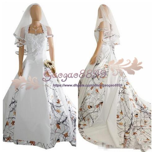 2019 real picture White Camo Satin Wedding Dress Custom Lace Appliques Bridal Gowns Lace Up Back With Veil Custom Long Camouflage cheap