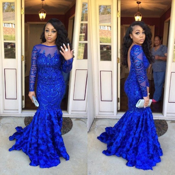 Sexy Arabic African Royal Blue Mermaid Prom Dresses Patterns Plus Size New 2019 USA Sexy Backless Sheer Long Sleeves Sequins Evening Dress