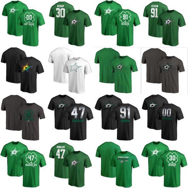 Erkek Dallas Stars 91Tyler Seguin 30 Ben Bishop 47 Alexander Radulov Yeşil Gri Özel Ad Numarası Buz Hokeyi T-Shirt