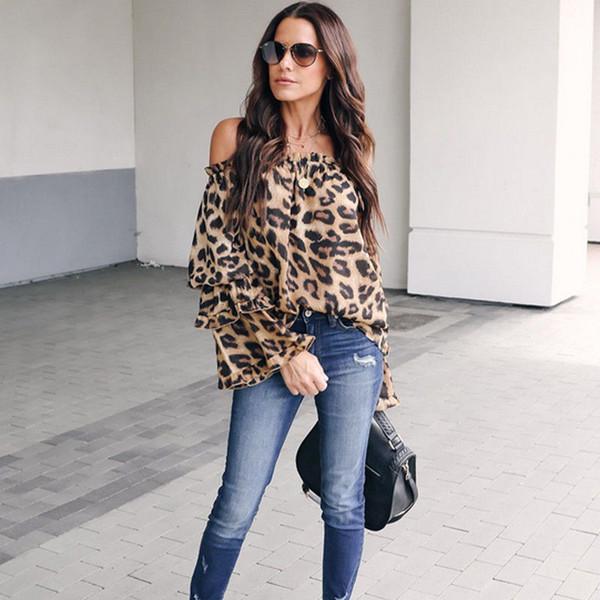 2019 Vestidos de mujer de moda Damas Leopardo Tops elegantes Bodycon Blusa de manga larga de corte bajo Hombro sexy Camisa de otoño caliente