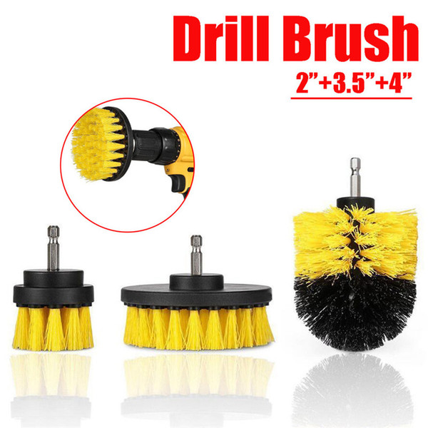 best selling 3Pcs 2 3.5 4 Inch Yellow Electric Drill Brush Tile Grout Power Scrubber Tub Cleaning Brush Kit