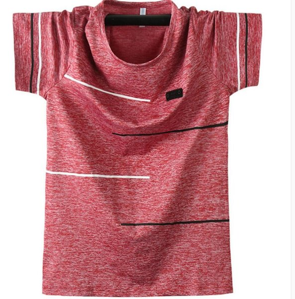 Summer new men's ice silk thin breathable comfortable short-sleeved T-shirt loose round neck plus fat large size quick-drying sports shirt G