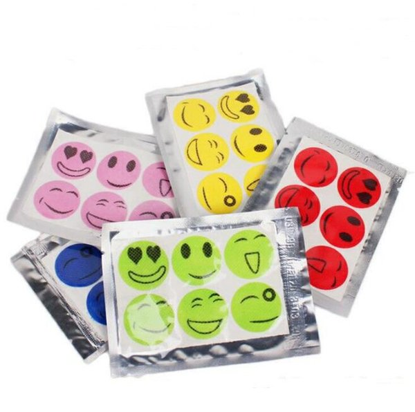 best selling Disposable Mosquito Repellent Stickers QQ Expression Face emoji Nature Anti Mosquito Repellent Insect Bug Patches for Baby Pregnant 6pcs bag