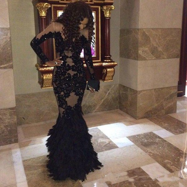 Luxury Black Feather Evening Dresses With Long Sleeves Sheer Champange Arabic Mermaid Prom Dresses Plus Size Black Girl Party Dresses