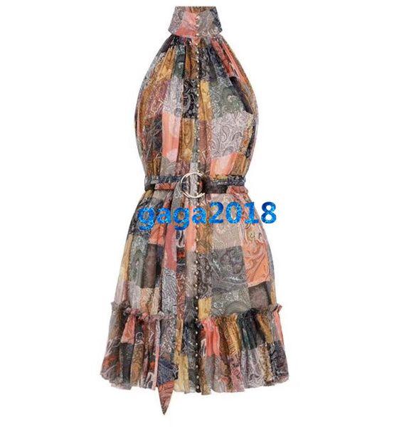 women girls 100% silk shirt dress paisley halter v-neck sleeveless a-line trumpet midi skirt high end custom fashion luxury runway dresses