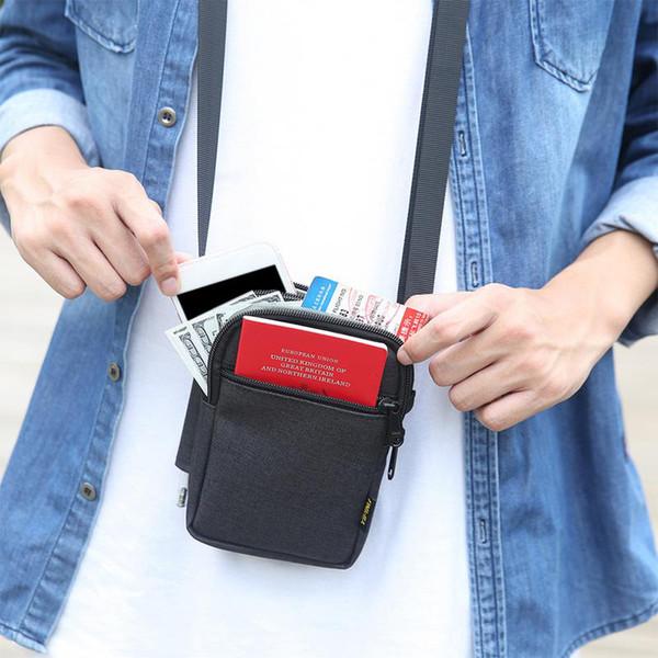 Multi-fonction Sac Téléphone mobile étanche document argent Sacs Sport Plein Air Sac à bandoulière Hommes Messenger Bag Ceinture