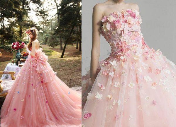 Romantic 3D Flower Pink Tutu Wedding Dresses 2019 Puffy Tulle Bridal Gowns Off Shoulder Lace Up Plus Size Vestido De Noiva
