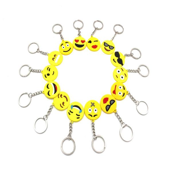 Small Emotion QQ Emoji Keychain Mix Styles Yellow QQ Expression PVC Keychains Keyring Bag Car Key Chains Ring Holder Accessories H445R