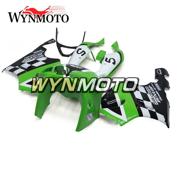 Esteiras completas da motocicleta do plástico do ABS para Kawasaki ZX7R 1996 - 2003 Ninja ZX-7R 97 98 99 00 02 01 03 capas Silkolene verde dos capuzes pretos