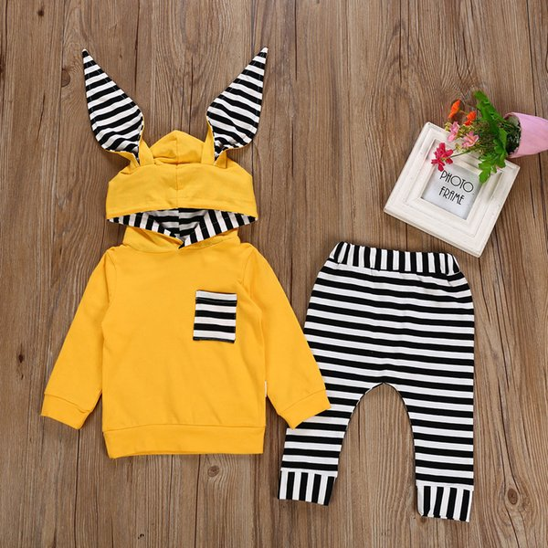 good quality Fashion baby clothes set winter clothes for children 2PCs Striped Hooded T shirt Tops+Pants newborn baby boy roupas meni