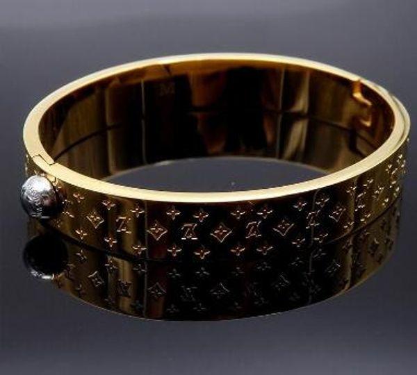 Nuovo arrivo L Marca Dimensione 5,7 * 4,9 centimetri Designer di alta qualità Oro / Argento / Braccialetti in oro rosa Bracciale in acciaio placcato oro nero Bracciali in acciaio inossidabile