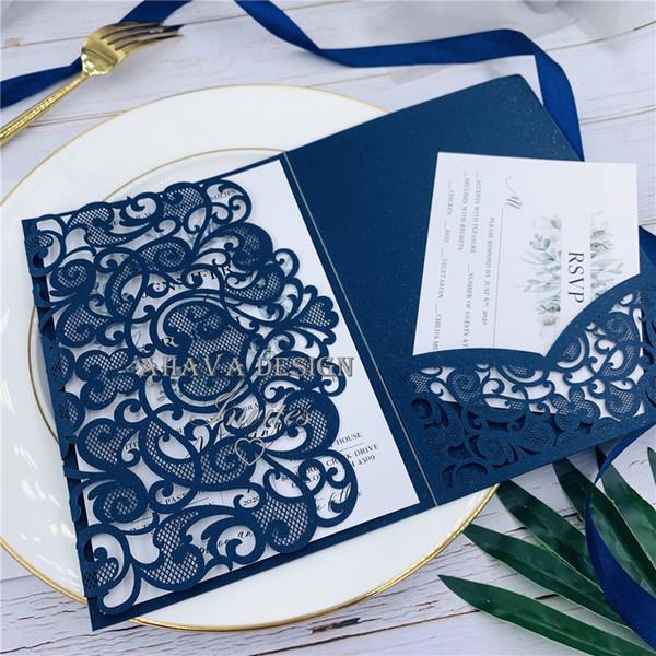 Navy Laser Cut Pocket Tri Fold Wedding Invitation Customizable Invites With Respond Card And Envelope Indian Wedding Invitation Cards Muslim Wedding