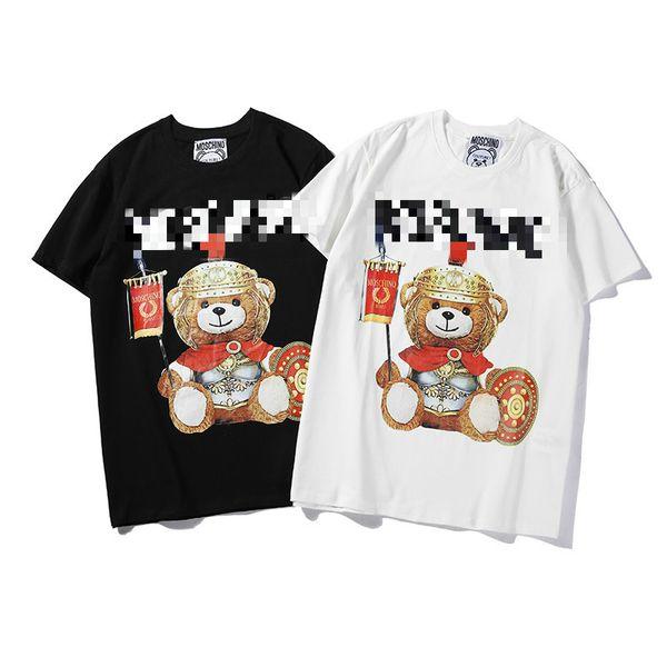 19 New Fashion Mens Designer Shirts Women Brand Shirts Bear Print Mens Top Tees Summer Short Sleeve T-shirt Mens Streetwear Street B100825K