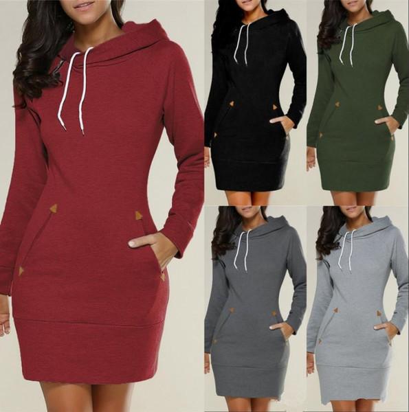 2019 Automne Hiver nouveaux Arrivent mode Sweats À Capuche Long Pour Les Femmes Chaud Top Manteaux Casual Robe Vêtements Avec Des Poches Longe