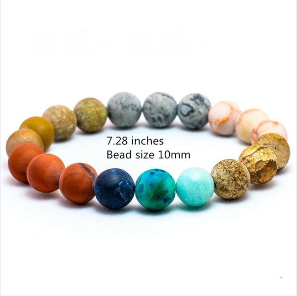 7 Chakra Bracelet, Système solaire Galaxy Planet Soulagement de lʻangoisse Gemmes Distance Amitié Perle Bracelet Mme Cadeau Couple Hommes