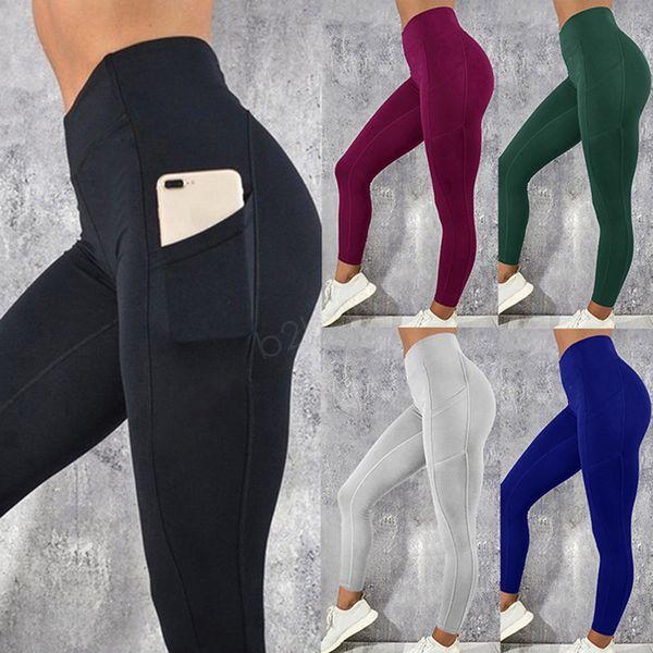top popular Women Legging With Pocket Workout Yoga Fitness Skinny Tights Gym Sport Stretch Fit Solid Jogging Slim Pants Legging LJJA2867 2020