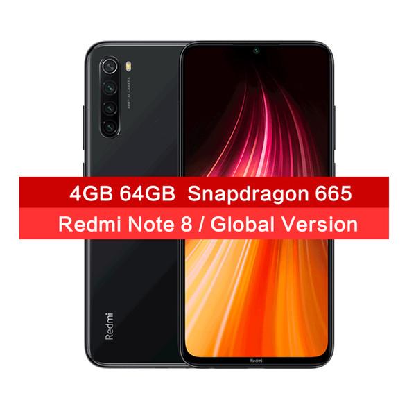 Global Versão Xiaomi redmi Nota 8 48MP Quad Câmeras Smartphone 4GB 64GB Snapdragon 665 Octa Núcleo 6.3
