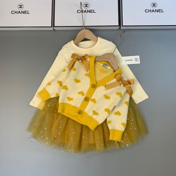 Girls skirts sets kids designer clothing cardigan sweater + sequin stitching dress 2pcs autumn love pattern design setss