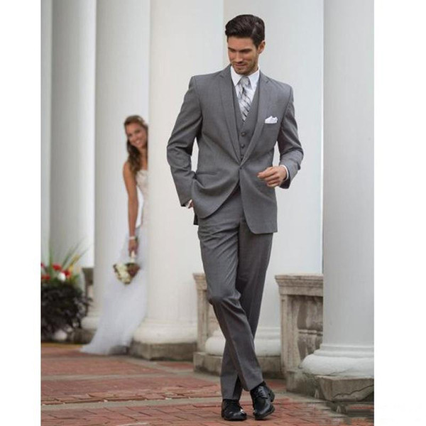 Grey Three Pieces (Blazer+Pant) Men's Wedding Suits One Button Slim Fit Groom Wear Men's Business Clothing For Sale