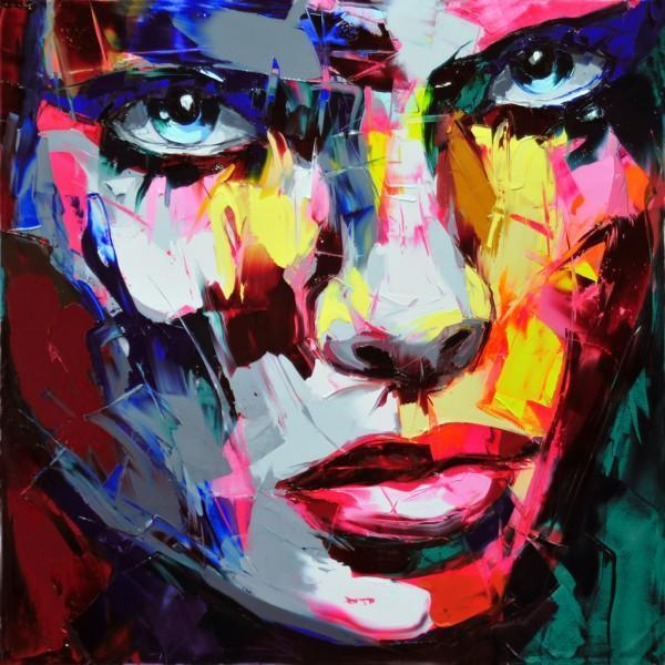 Francoise Nielly Palette Knife Impression Home Artworks Modern Portrait Handmade Oil Painting on Canvas Concave and Convex Texture Face022