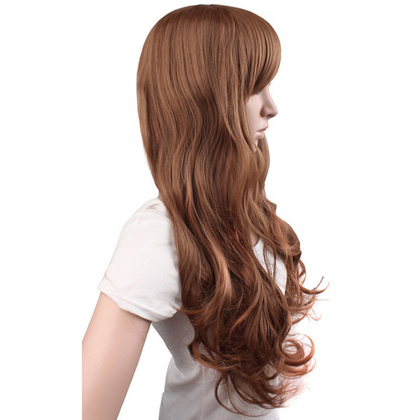 Light Dark Brown Black Colors 24 Inch Wigs For Women Long Loose Wave Natural Cosplay Heat Resistant Human Hair Full Lace Wigs FG28