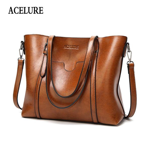 Acelure Oil Wax Women's Leather Handbags Luxury Lady Hand Bags With Purse Pocket Women Messenger Bag Big Tote Sac Bols J190509