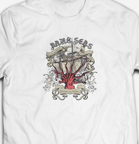 DARK SEAS KRAKEN OCTOPUS PIRATE SHIP BOAT 100% cotton Mens SAILING T-shirt TEE Funny 100% Cotton T Shirt denim clothes camiseta t shirt